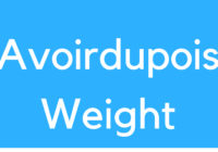 Avoirdupois Weight
