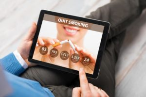 quit smoking app on a tablet computer